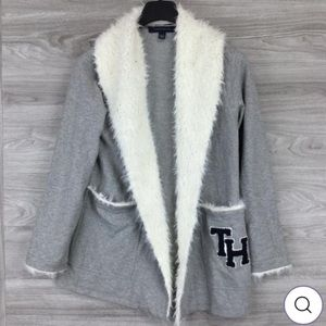 NEW Tommy Hilfiger Fuzzy Trim Open Front Cardigan